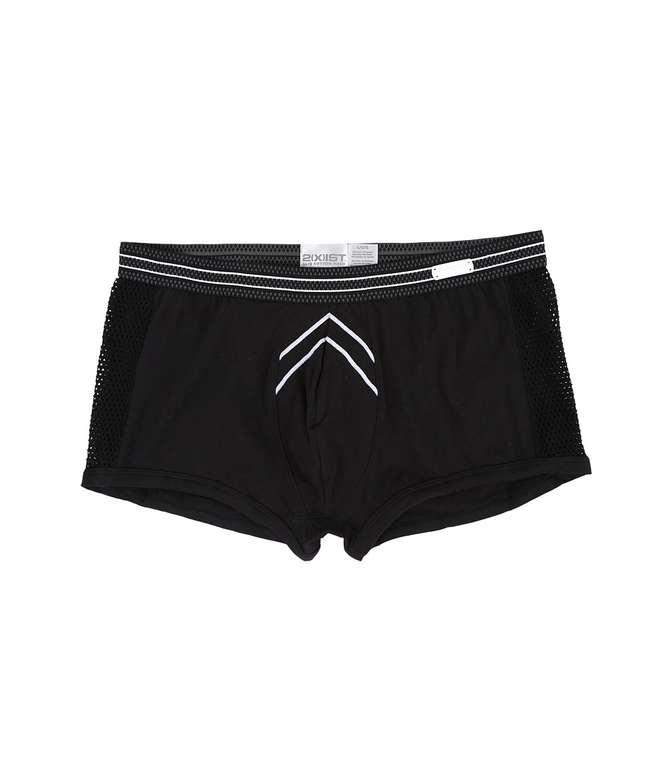 2(X)IST - Sliq Cotton Mesh Sliq Trunk (Black) Men's Underwear