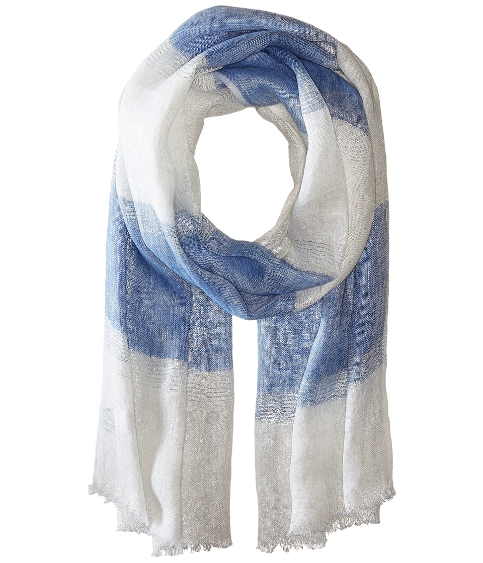 Echo Design - Lurex Stripe Wrap Scarf (Deep Blue Sea) Scarves