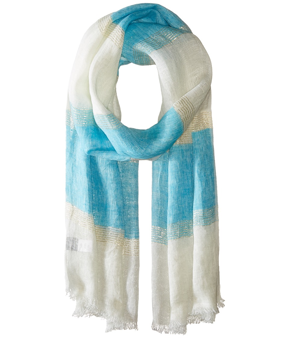 Echo Design - Lurex Stripe Wrap Scarf (Turquoise Stone) Scarves
