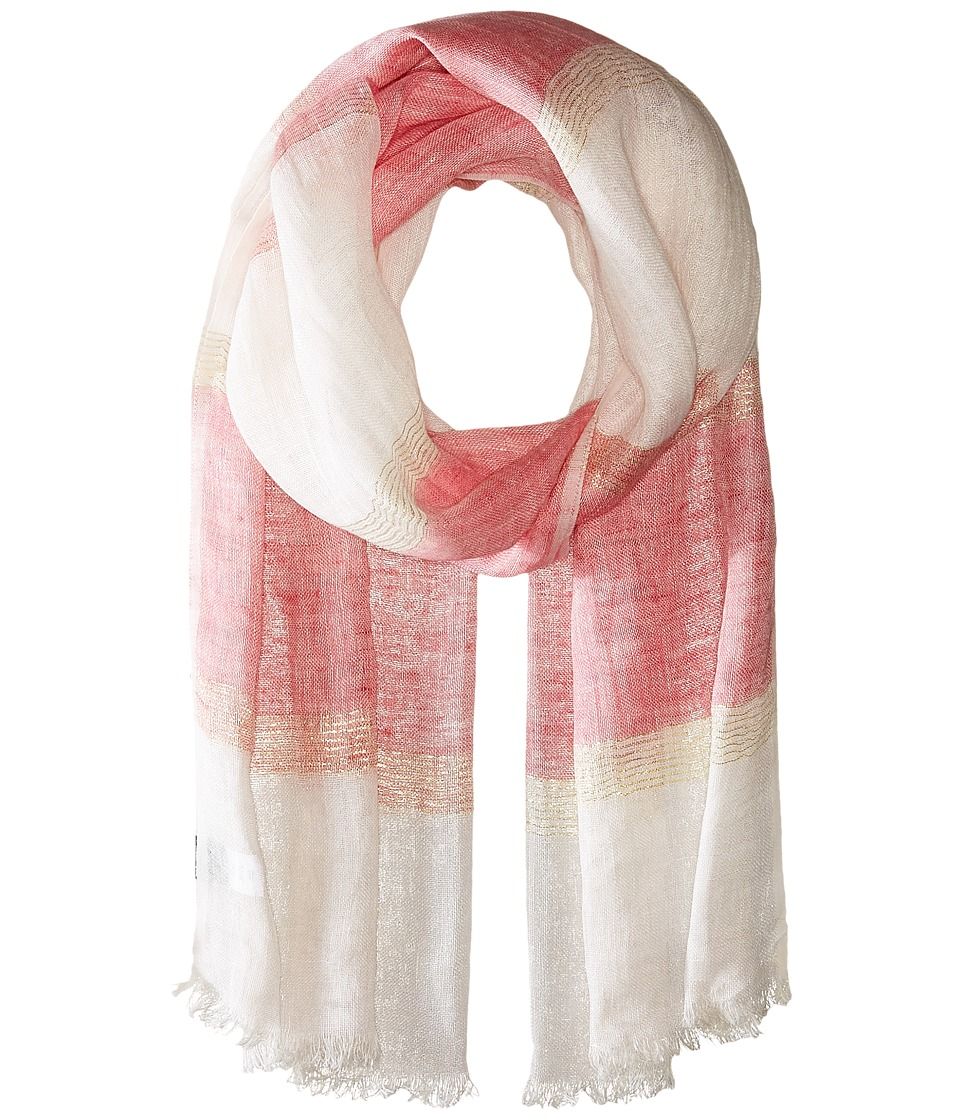 Echo Design - Lurex Stripe Wrap Scarf (Bright Coral) Scarves