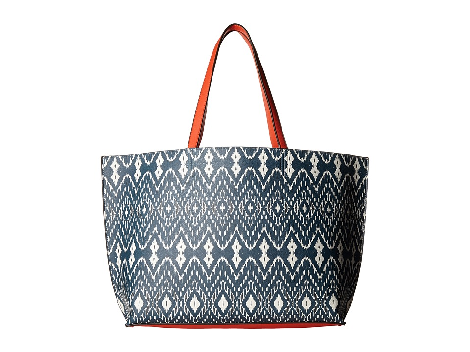Echo Design - Ikat Essex Reversible Tote (Deep Blue Sea/Coral) Tote Handbags