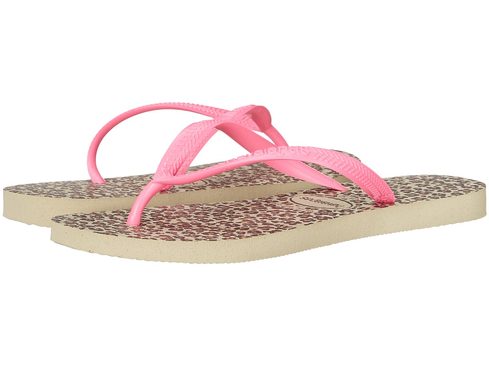 Havaianas - Slim Animals Flip Flops (Sand Grey/Pink) Women's Sandals