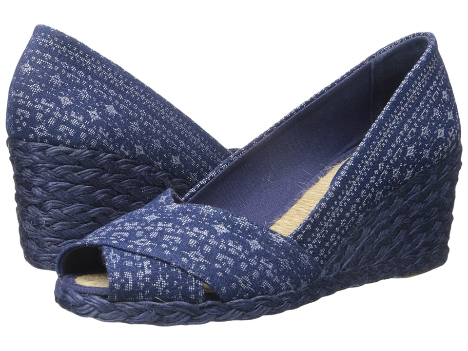 LAUREN Ralph Lauren Cecilia Indigo Multi-Denim Multi Womens Wedge Shoes