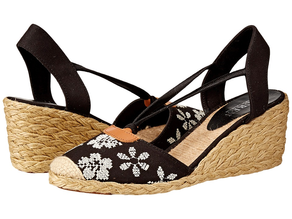 LAUREN Ralph Lauren - Cala (Black/Cream Needlepoint) Women's Wedge Shoes