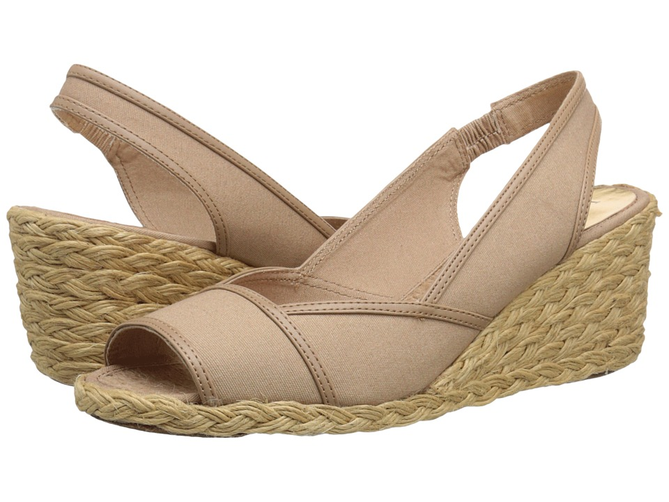 LAUREN Ralph Lauren - Catrin (Khaki Canvas/Kidskin) Women's Wedge Shoes