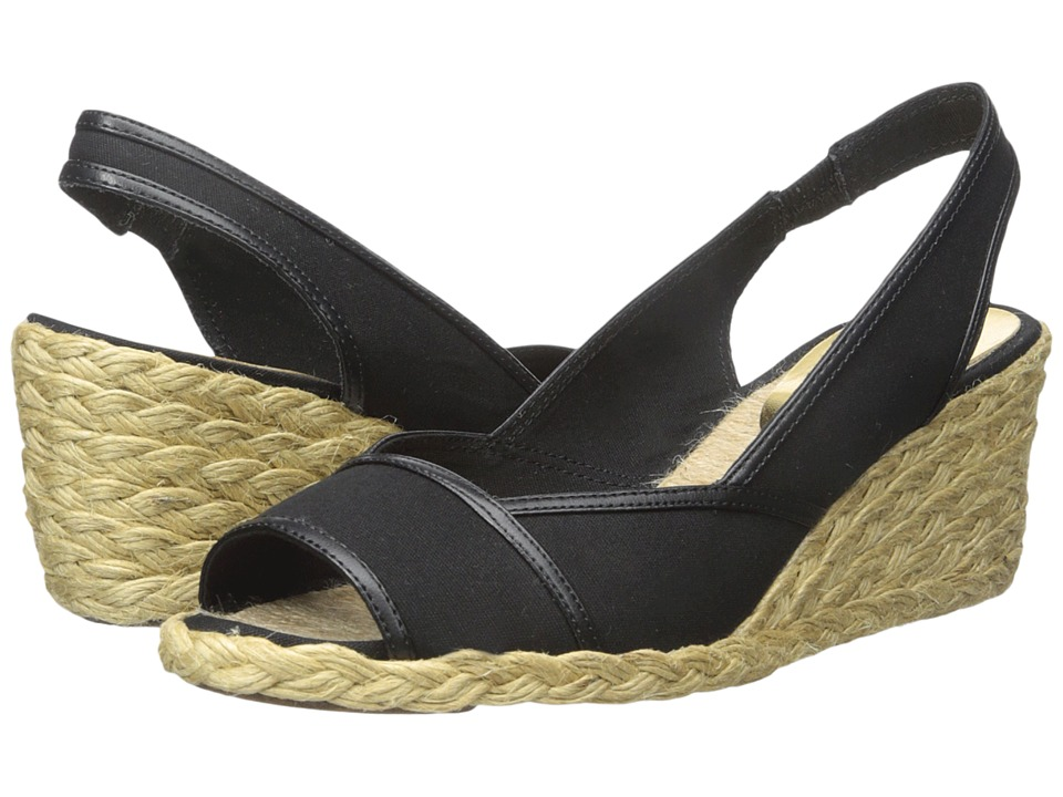 LAUREN Ralph Lauren - Catrin (Black Canvas/Kidskin) Women's Wedge Shoes