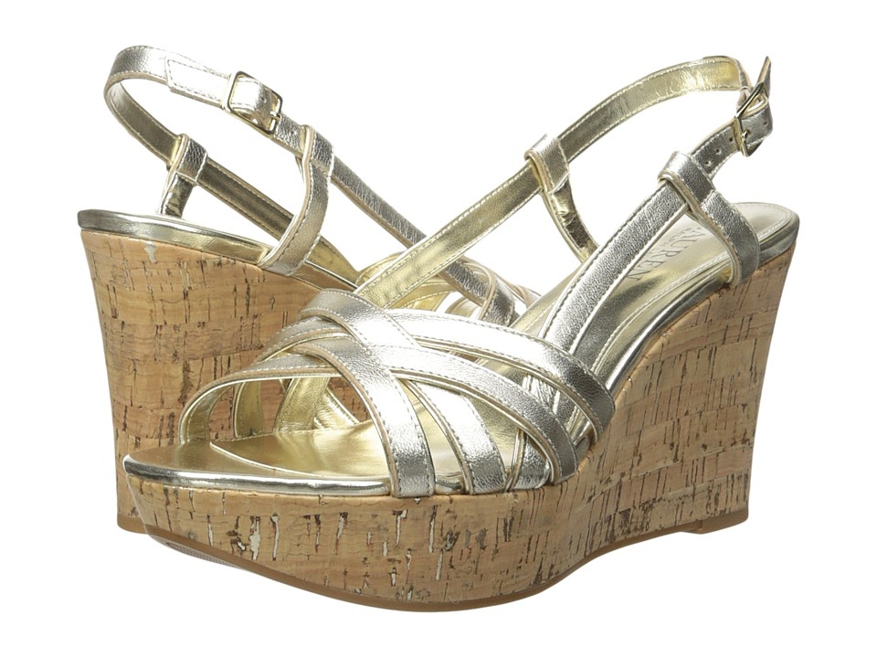 LAUREN Ralph Lauren - Quaylin (Platino Metallic Kidskin) Women's Wedge Shoes
