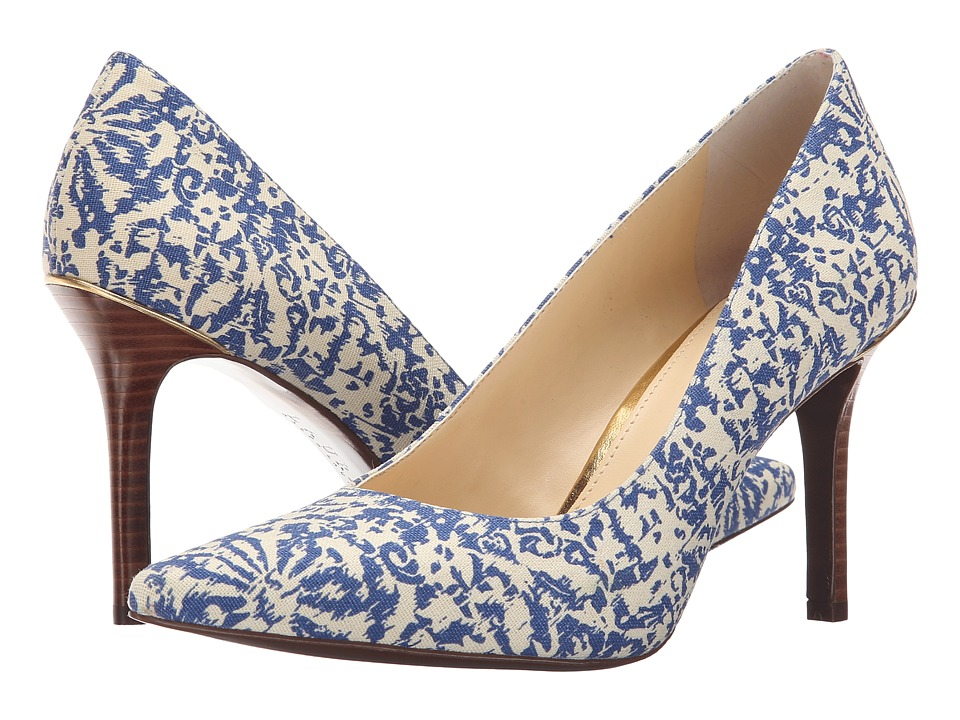 LAUREN Ralph Lauren - Sarina (Blue Block Print Cotton) High Heels