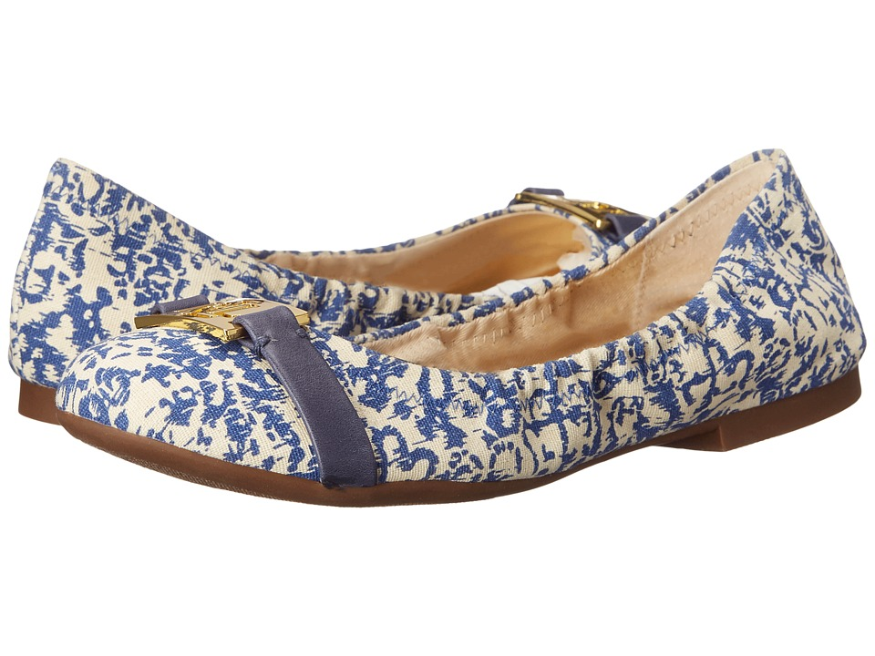 LAUREN Ralph Lauren - Betty (Blue Block Print Cotton) Women's Flat Shoes