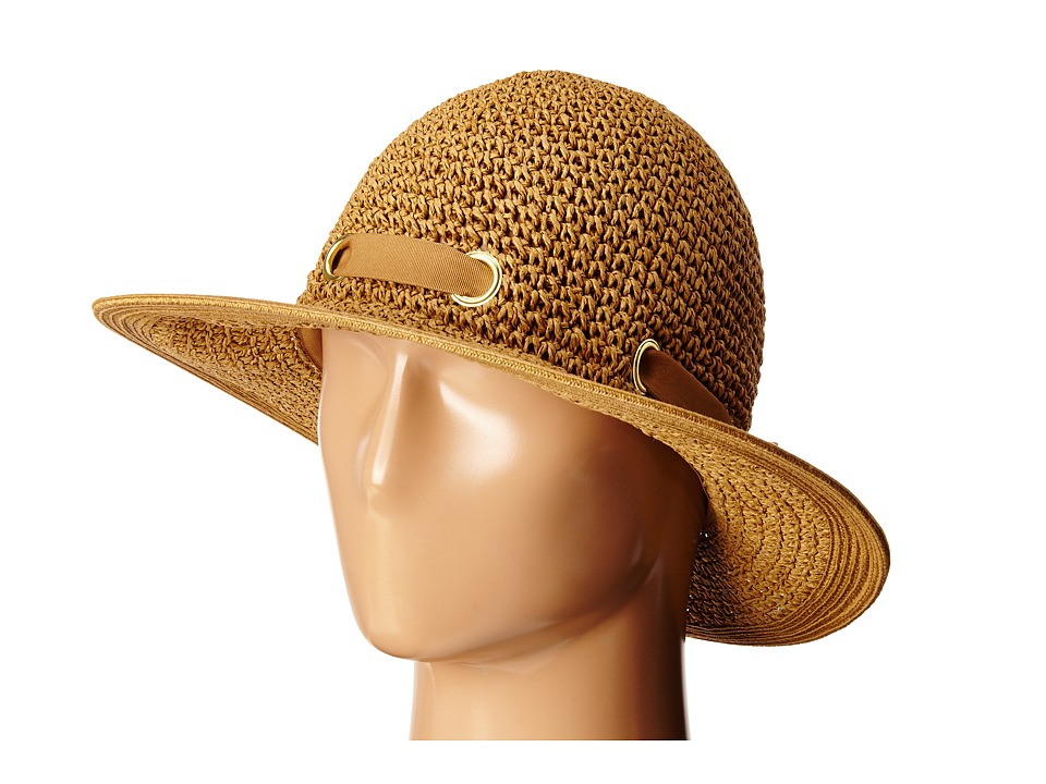 San Diego Hat Company - PBM1029 Crochet Floppy Hat with Grommets (Tobacco) Caps