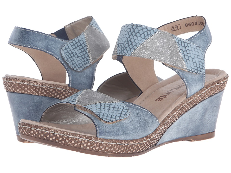 Rieker - D0454 Ursula 54 (Royal/Denim/Shark) Women's Wedge Shoes