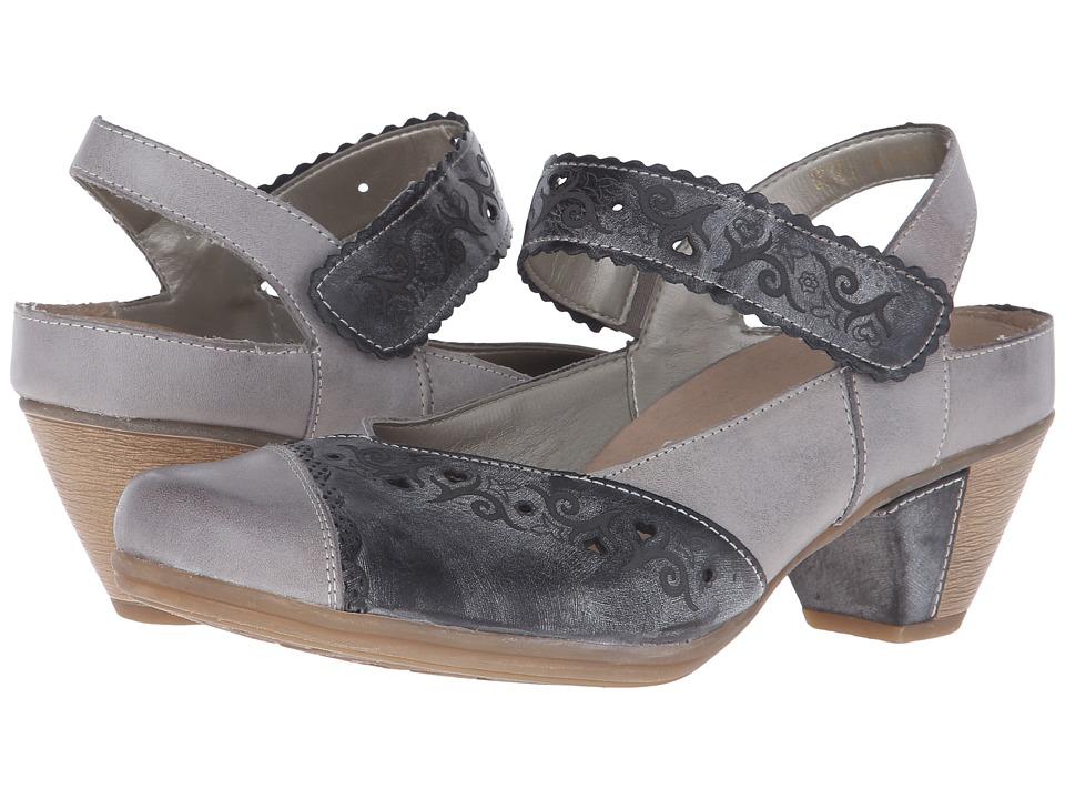 Rieker - D1209 Annemarie 09 (White Iron/Asphalt Cristallino/Serbia) Women's 1-2 inch heel Shoes