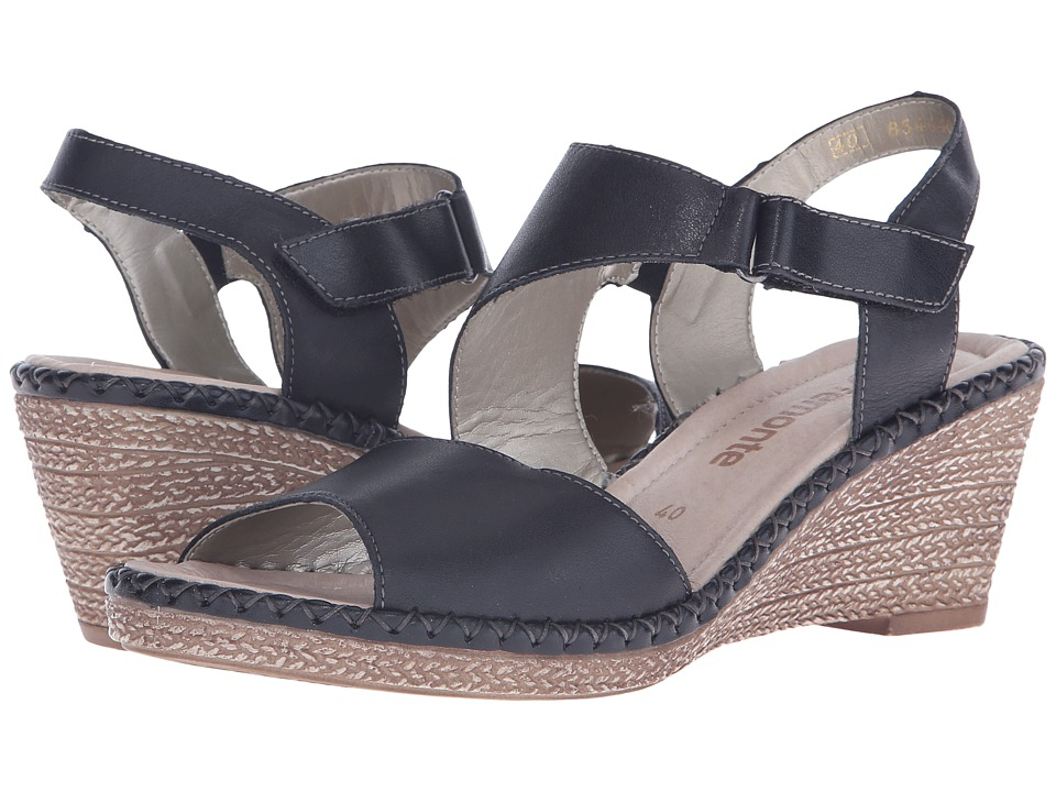 Rieker - D6743 Ursula 43 (Black/Black) Women's Wedge Shoes