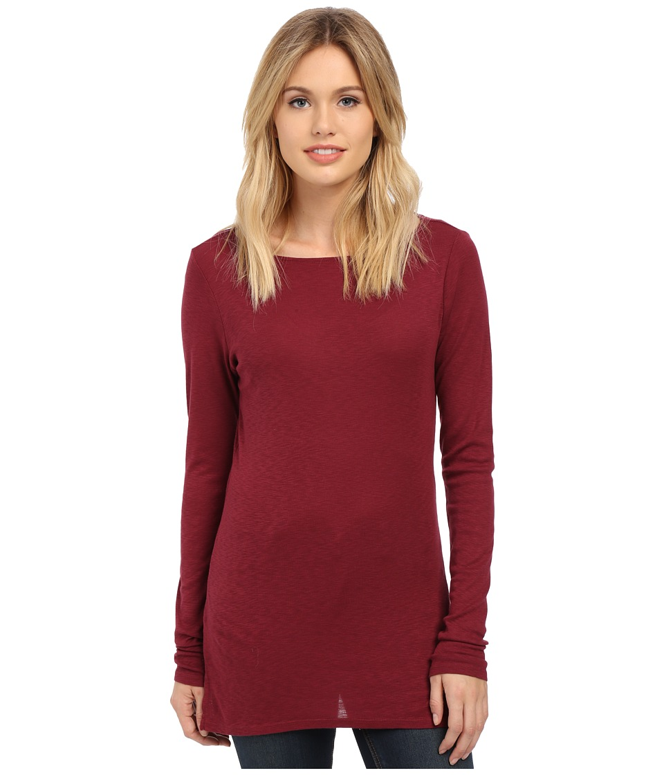Michael Stars - Slub Long Sleeve Boatneck Tunic (Pinot) Women's Clothing