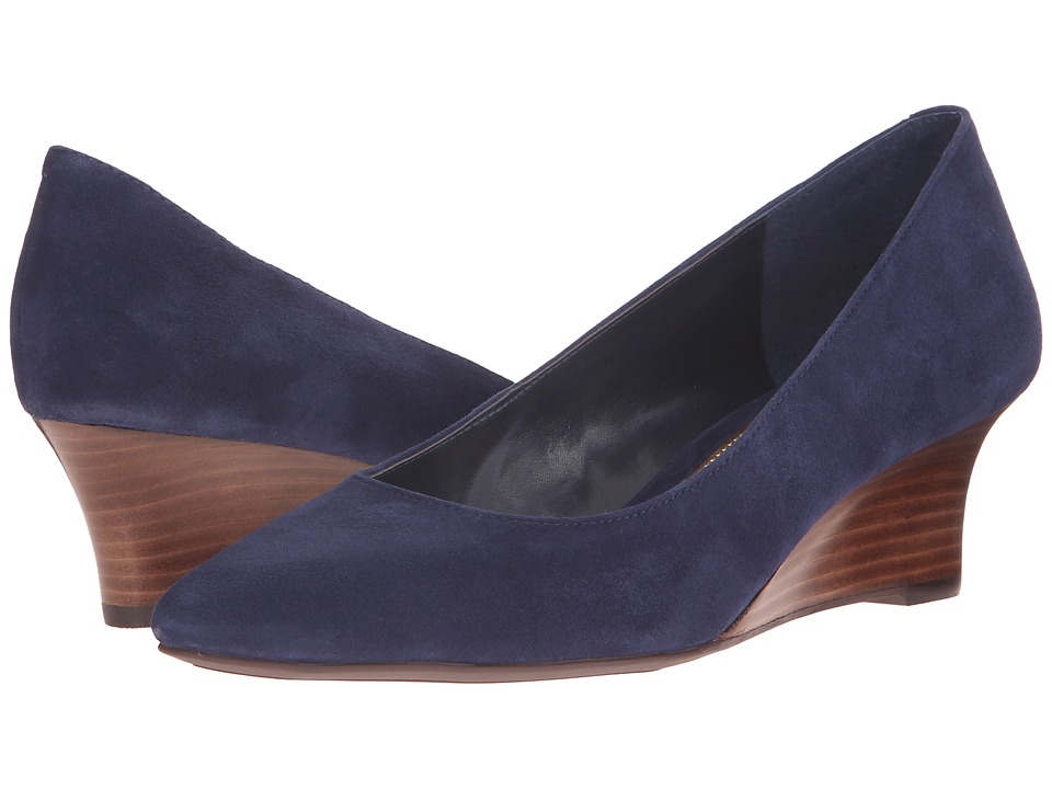 LAUREN Ralph Lauren Haidee Modern Navy Kid Suede Womens Wedge Shoes