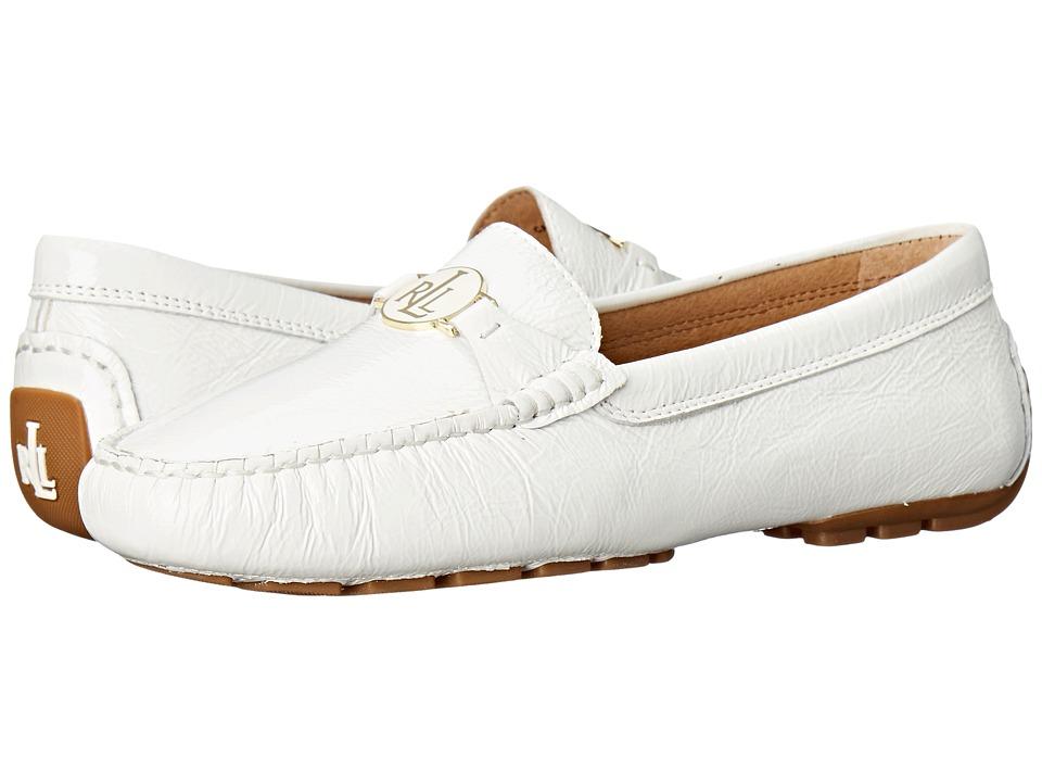LAUREN Ralph Lauren - Carley (Ralph Lauren White Crinkle Soft Patent) Women's Slip on Shoes