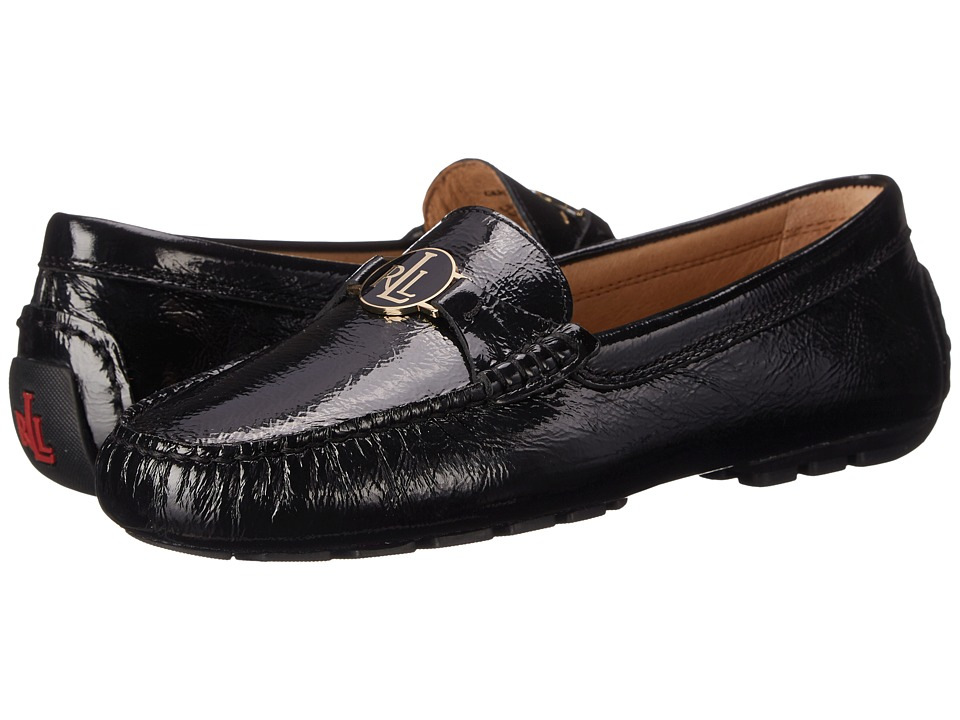 LAUREN Ralph Lauren - Carley (Black Crinkle Soft Patent) Women's Slip on Shoes
