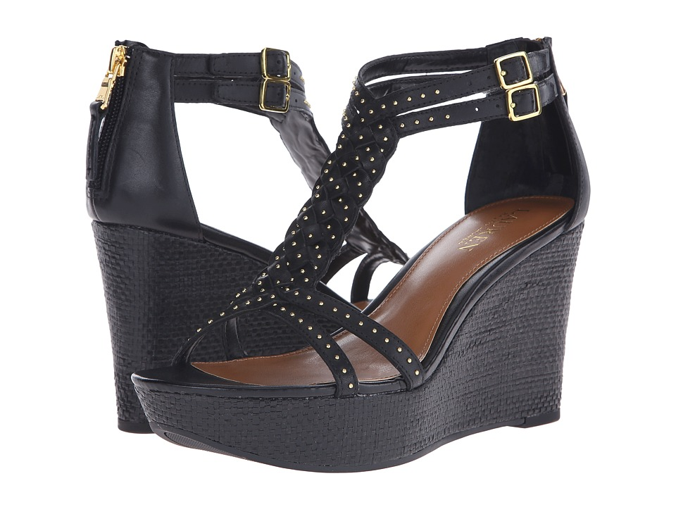 LAUREN Ralph Lauren - Quanita (Black Soft Burnished Calf) Women's Wedge Shoes