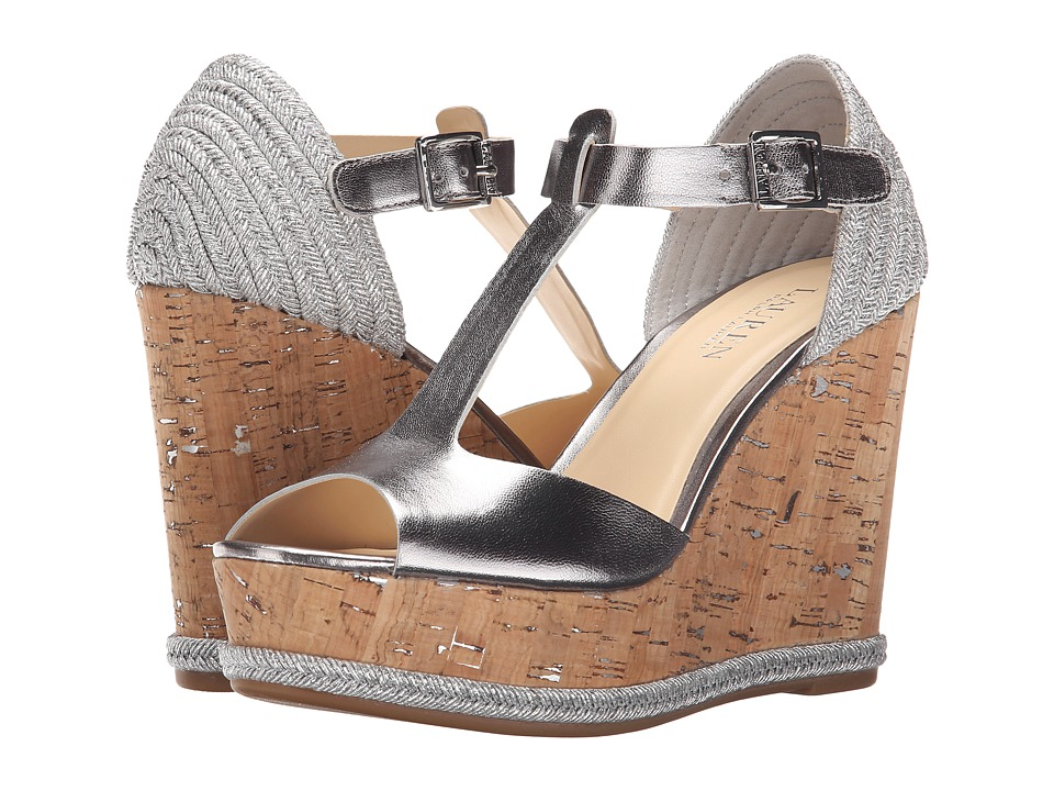 LAUREN Ralph Lauren - Sheila (Silver Metallic Kidskin) Women's Wedge Shoes