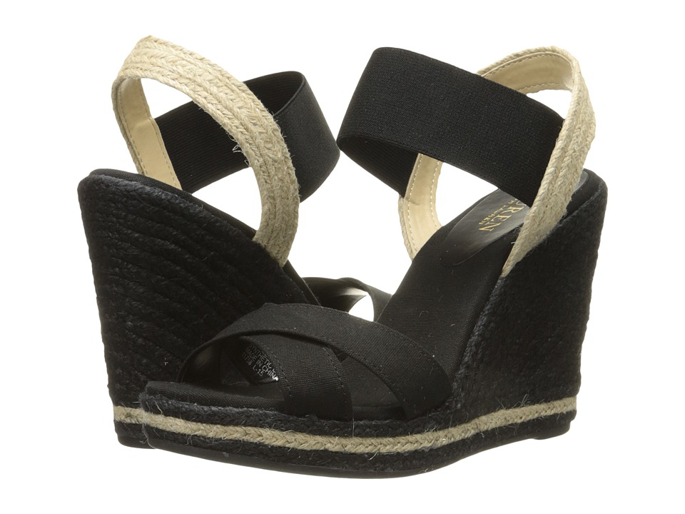 LAUREN Ralph Lauren - Elena (Black Solid Canvas/Elastic) Women's Wedge Shoes