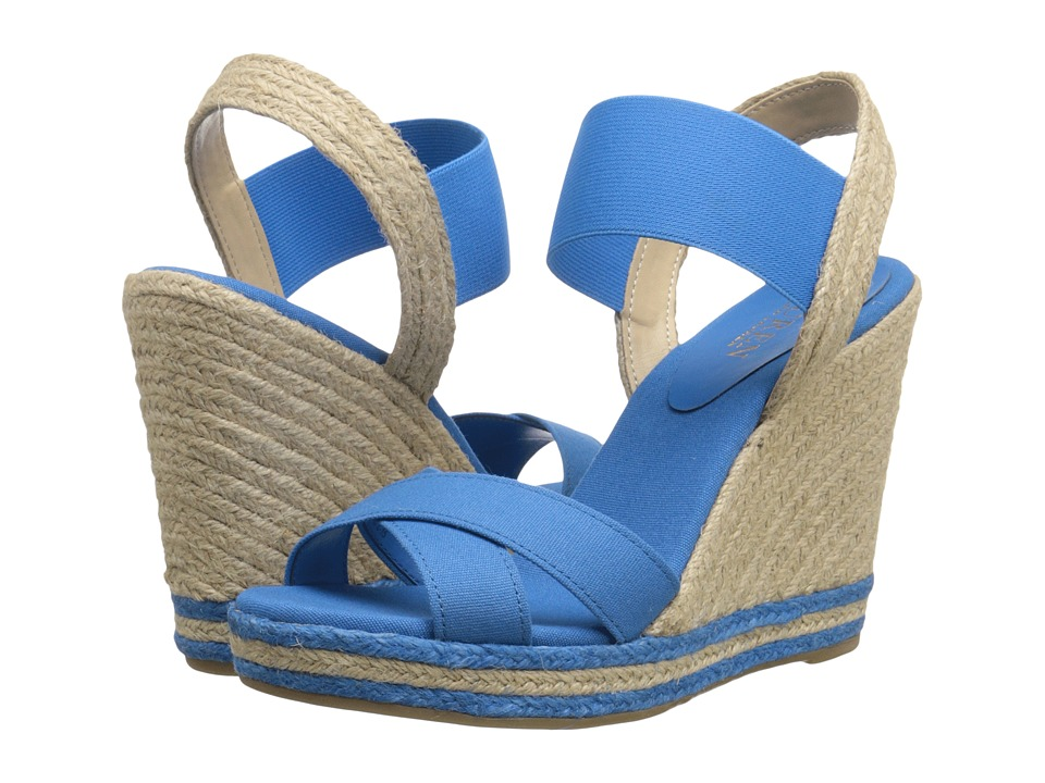 LAUREN Ralph Lauren - Elena (Blue Solid Canvas/Elastic) Women's Wedge Shoes
