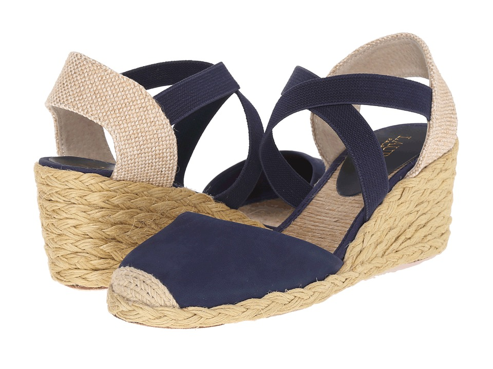 LAUREN Ralph Lauren Casandra Modern Navy Elko Nubuck Womens Wedge Shoes