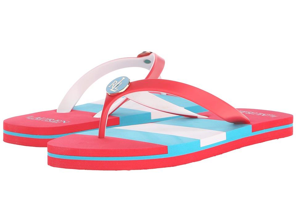 LAUREN Ralph Lauren - Elissa II (Ralph Lauren Bright Red/Turquoise/White Tricolor Stripe) Women's Sandals