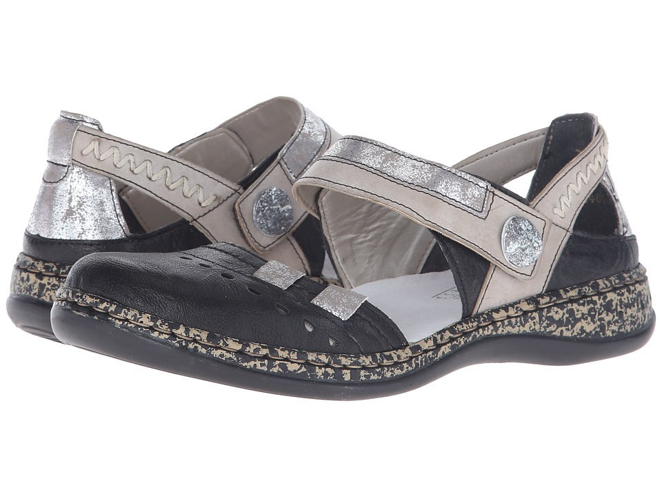 Rieker - 46346 Daisy 46 (Black/Silver/Steel) Women's Shoes