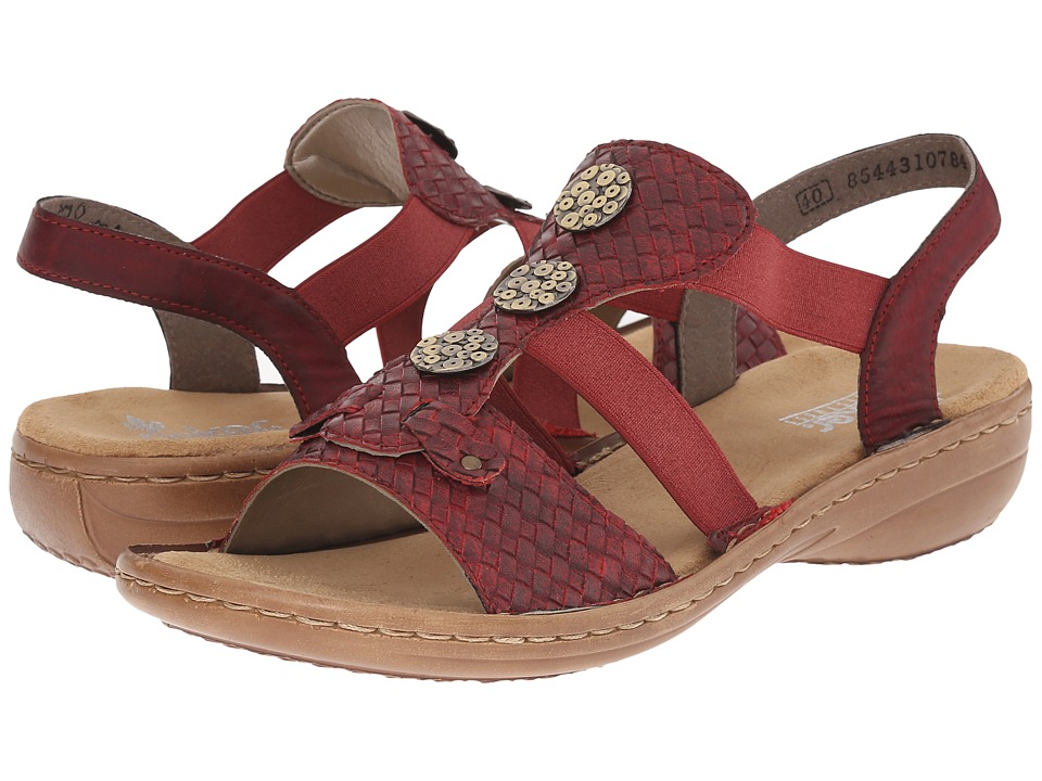 Rieker - 608B4 Regina B4 (Mohn/Wine) Women's Sandals
