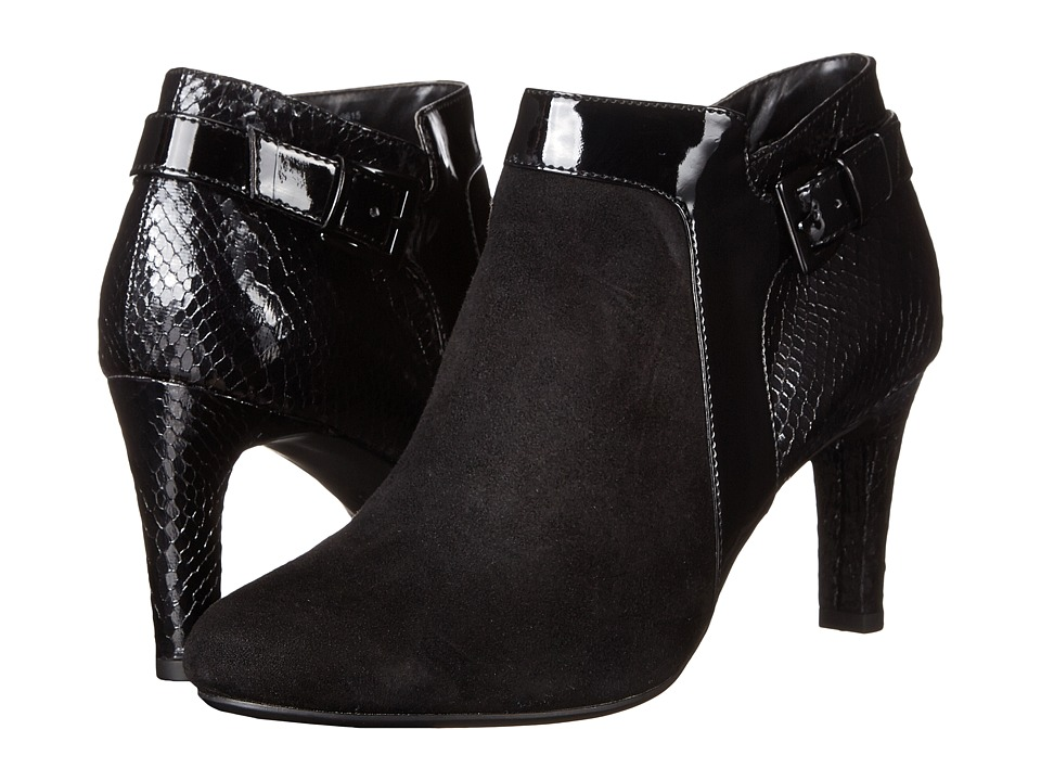 Bandolino - Loman (Black Suede/Laquer Snake PU) Women's Shoes
