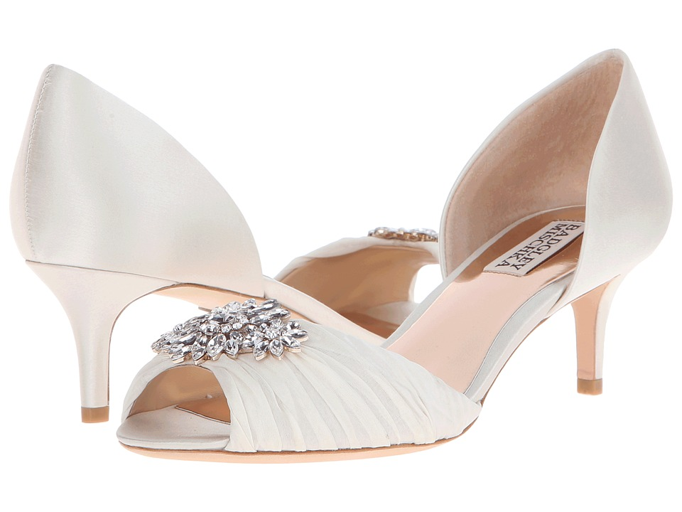 Badgley Mischka - Caitlin (Ivory Satin/Silk) Women's 1-2 inch heel Shoes