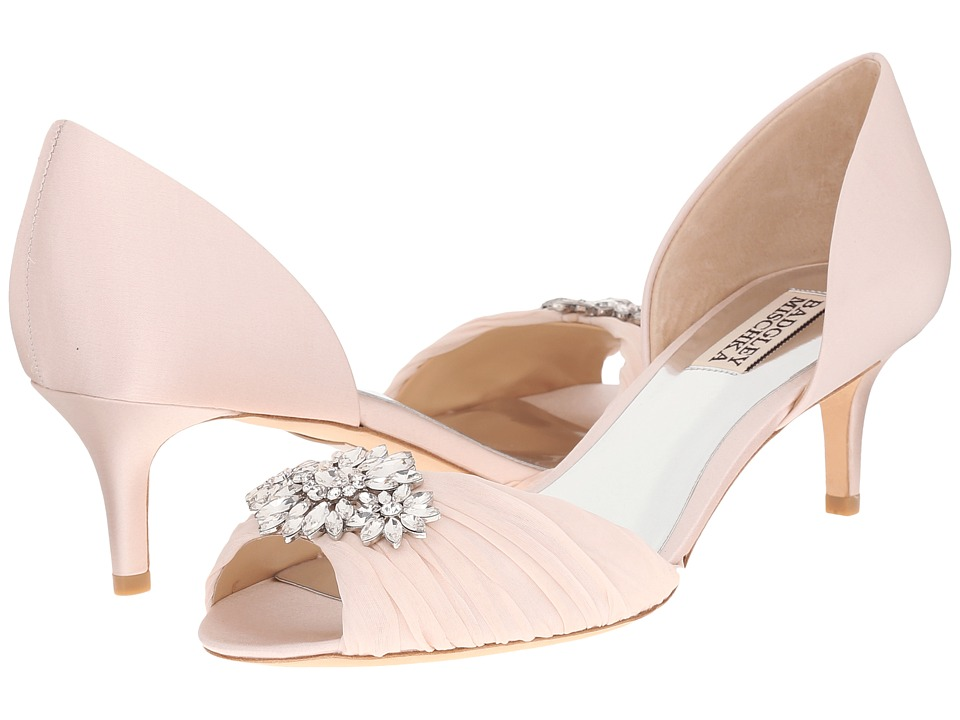 Badgley Mischka - Caitlin (Light Pink Satin/Silk) Women's 1-2 inch heel Shoes