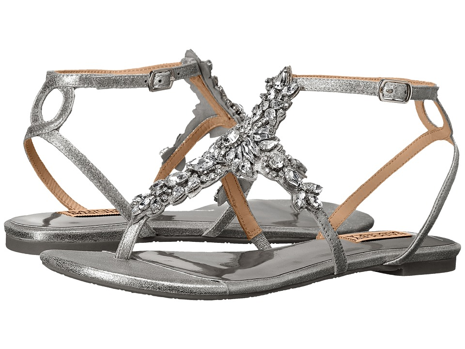 Badgley Mischka - Cara II (Silver Metallic Suede) Women's Sandals
