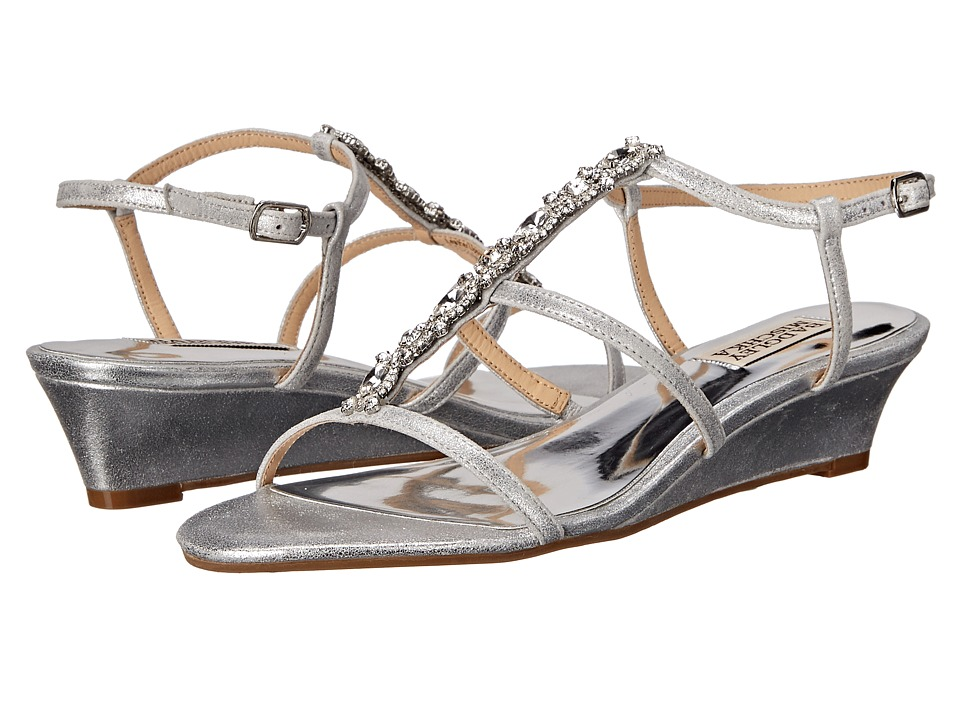 Badgley Mischka Carley II Silver Metallic Suede Womens Wedge Shoes