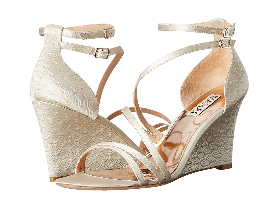Badgley Mischka - Carnation (Ivory Satin) Women's Wedge Shoes