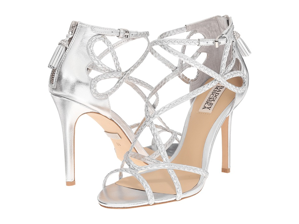 Badgley Mischka - Crystal (Silver Metallic Leather) Women's Wedge Shoes