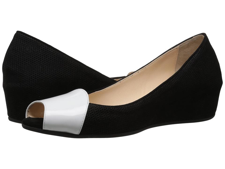 Aquatalia - Margaret (White/Black Patent/Suede) Women's Wedge Shoes