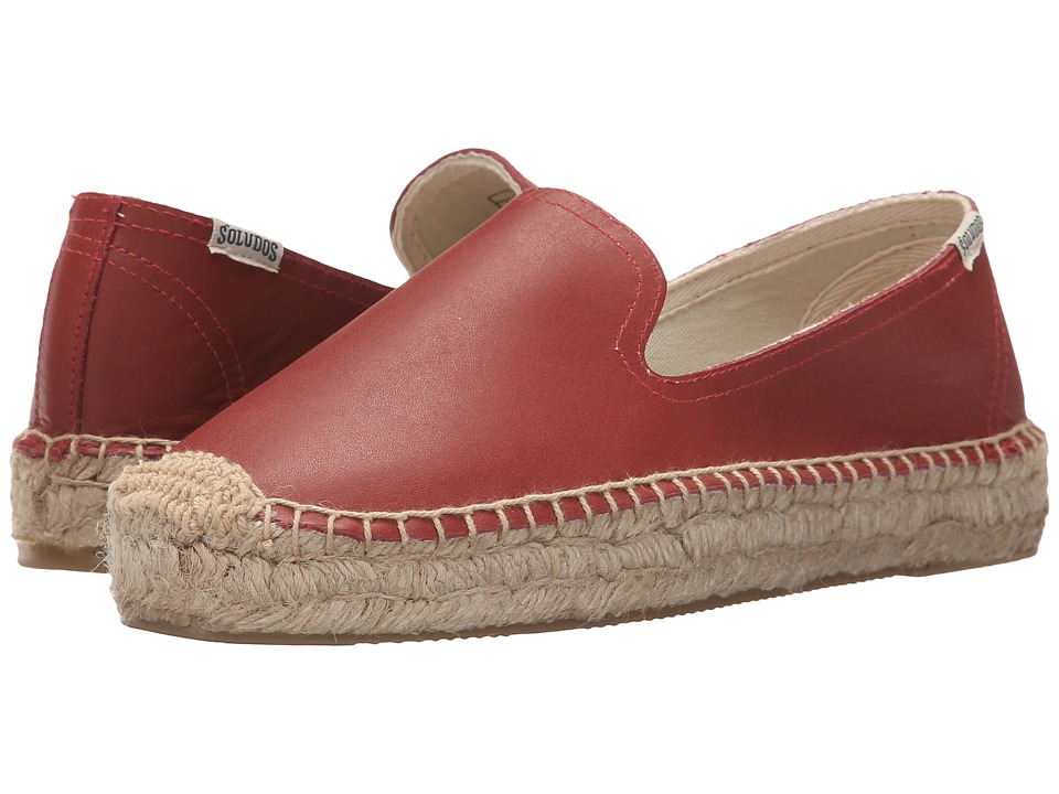 Soludos - Platform Smoking Slipper Leather (Marsala) Women's Slippers