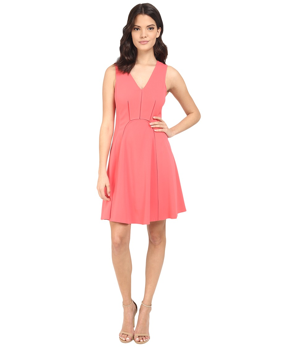 Rebecca Taylor - Sleeveless Refined Suiting Dress (Melon Pop) Women's Dress