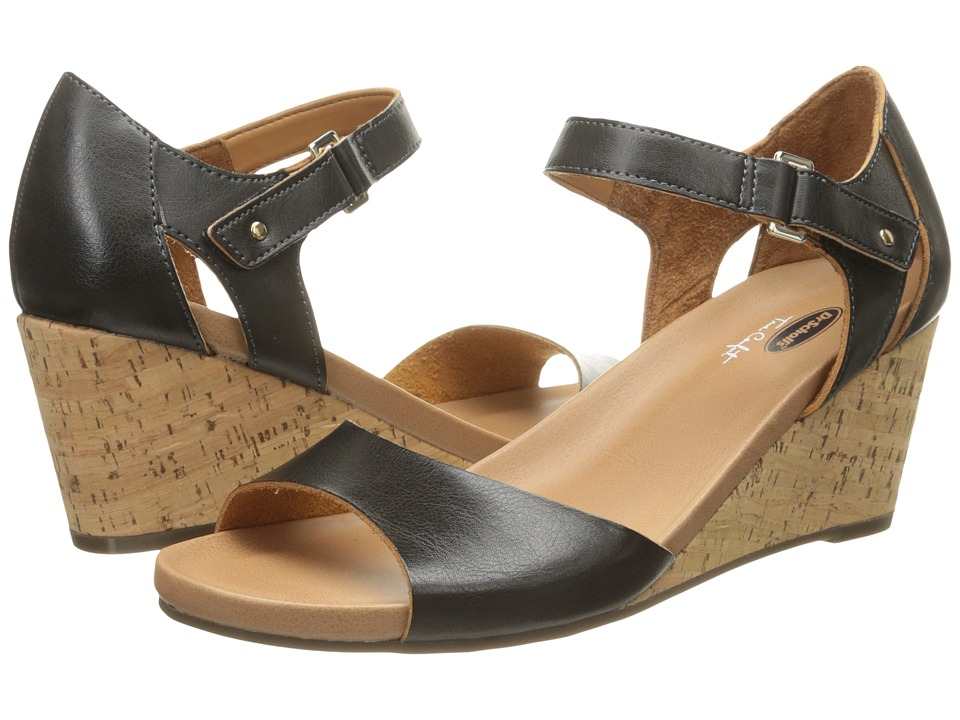 Dr. Scholl's - Lilah (Black/Cork Wedge) Women's Shoes
