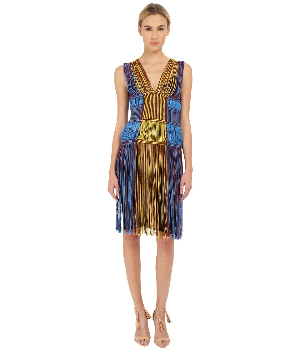M Missoni - Fringe V-Neck Dress (Blue) Women's Dress