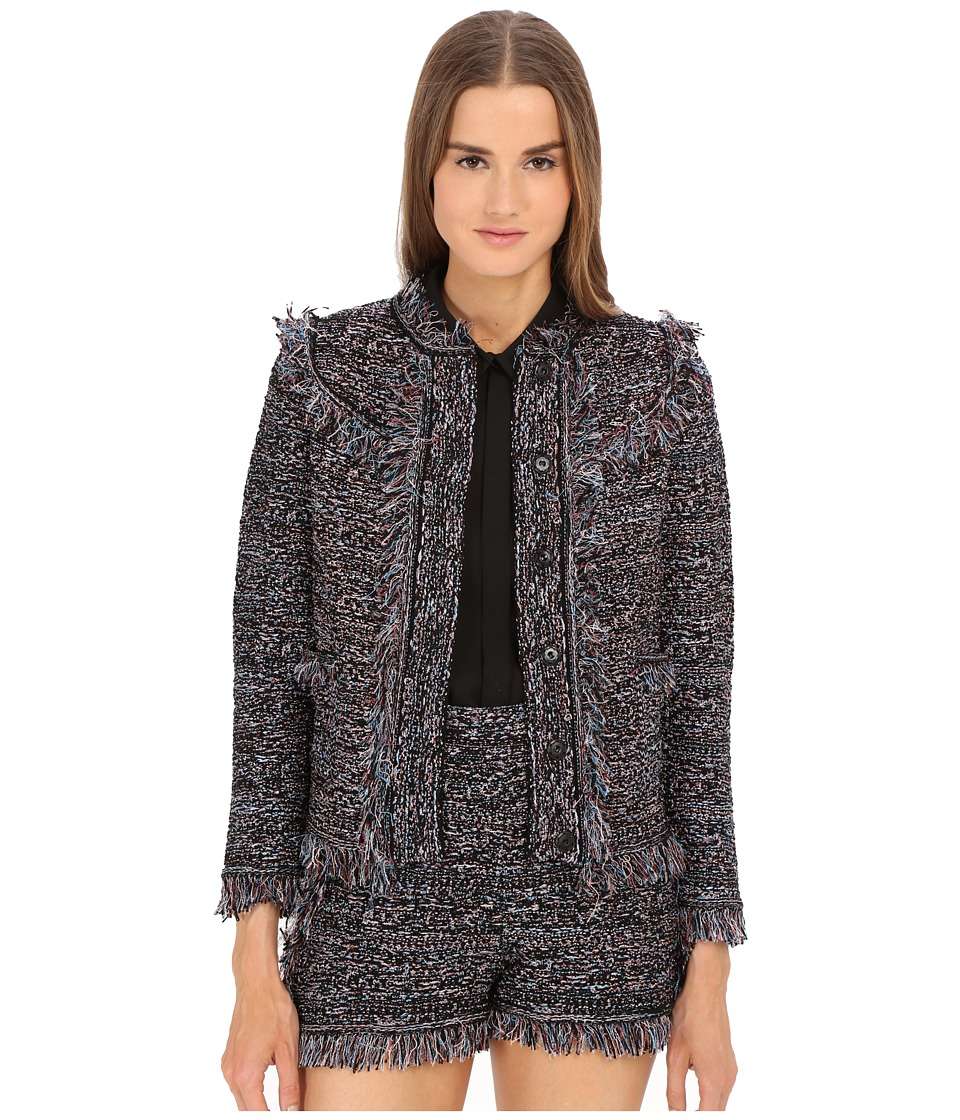 M Missoni - Lurex Fringe Jacket (Black) Women's Coat