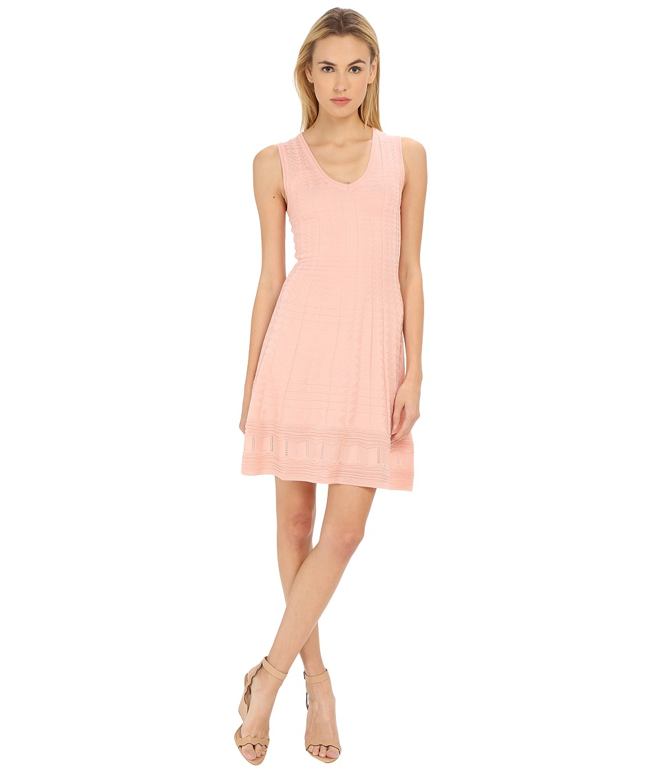 M Missoni Solid V-Neck Dress (Blush) Women