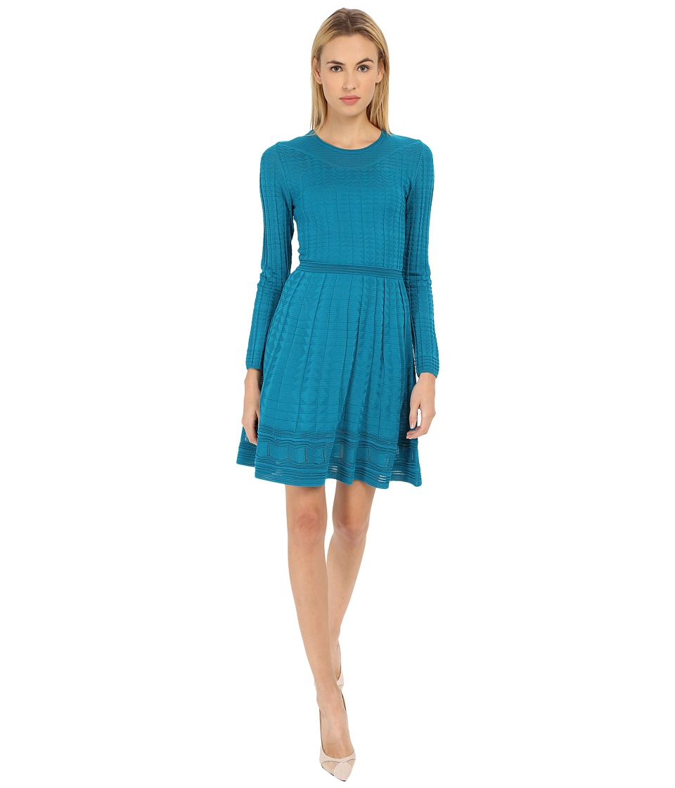 M Missoni Solid Long Sleeve Dress (Teal) Women