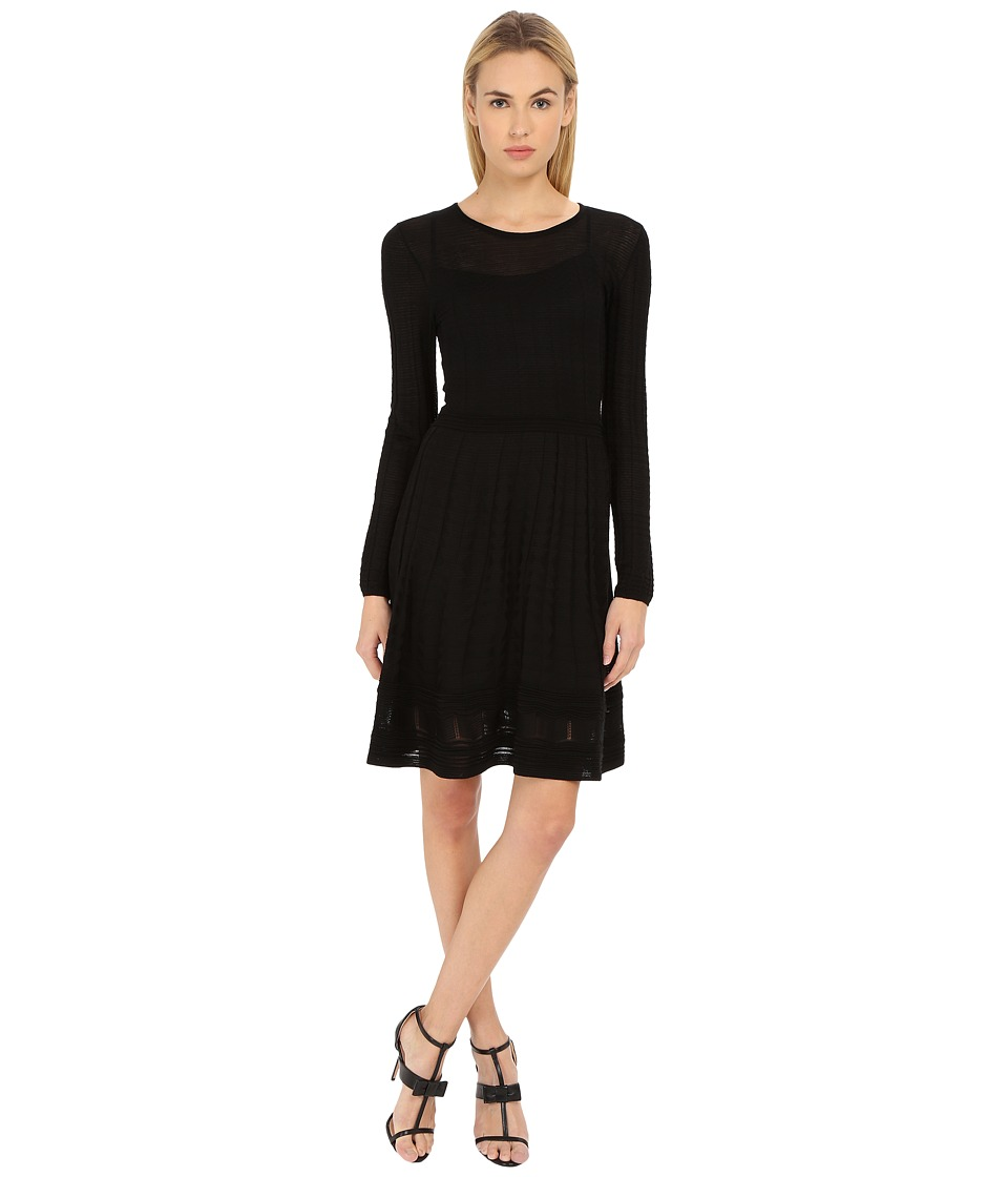 M Missoni - Solid Long Sleeve Dress (Black) Women's Dress