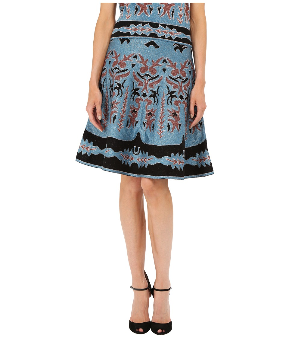 M Missoni - Lurex Embroidered Jaquard Skirt (Blue) Women's Skirt