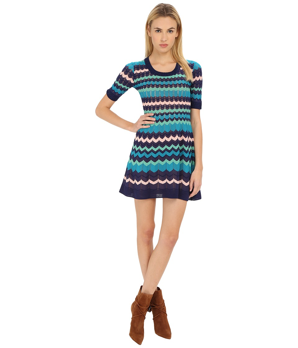 M Missoni - Color Block 3/4 Sleeve Dress (Marine) Women's Dress