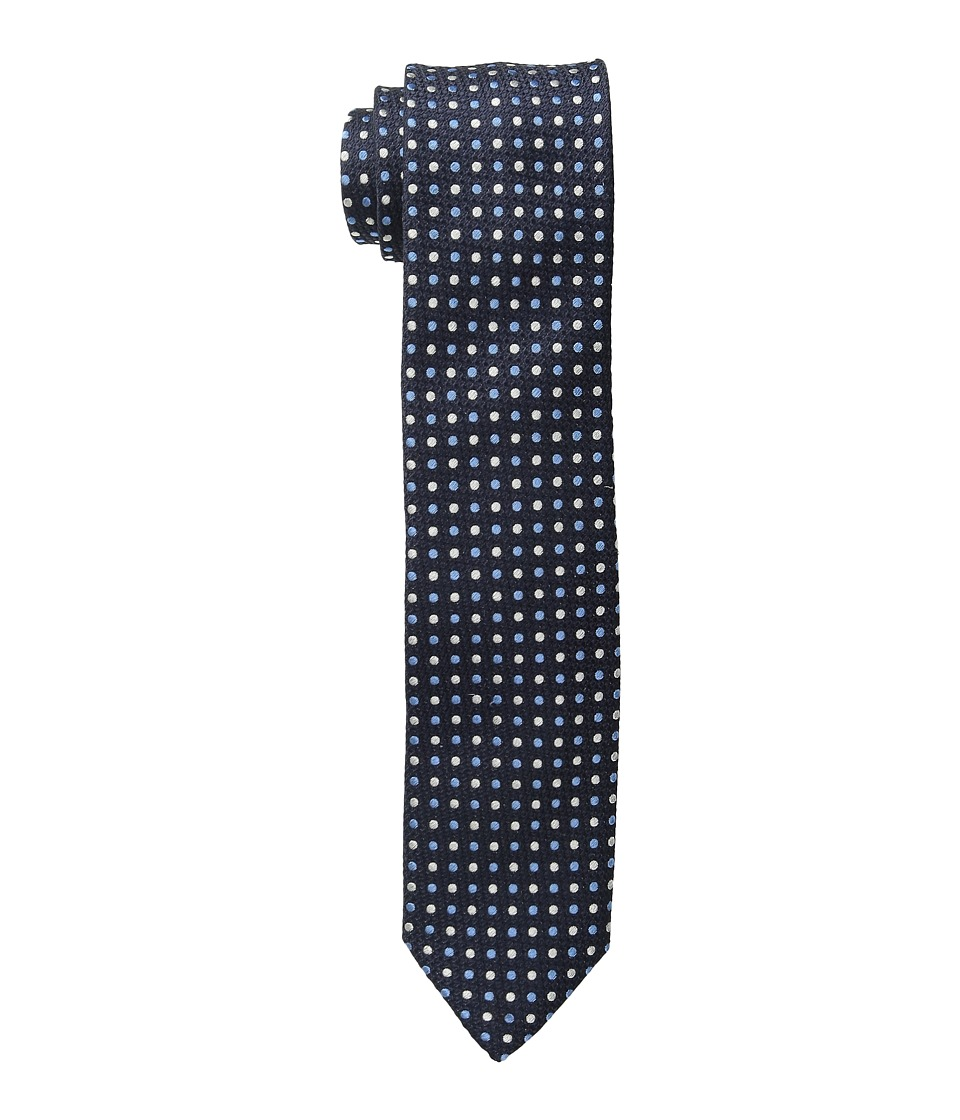 Dolce & Gabbana - Polka Dot Regular Width Silk Tie (Slim Navy/Ivory/Light Blue Polka Dot Print 1) Ties