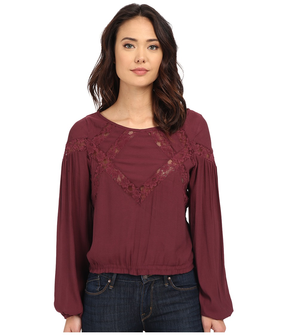 Free People - Lessons of Love Top (Plum) Women's Clothing