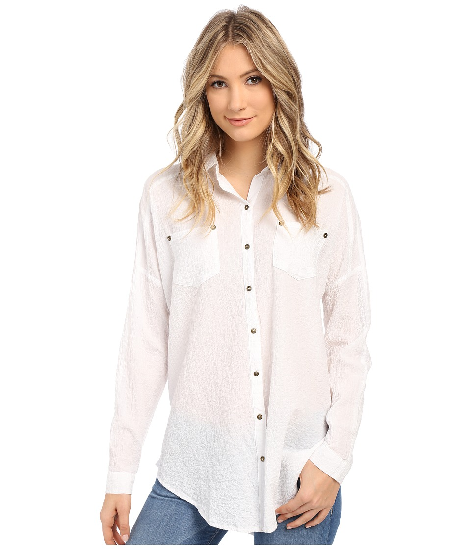Free People - Lover Her Madly Button Down Shirt (White) Women's Long Sleeve Button Up